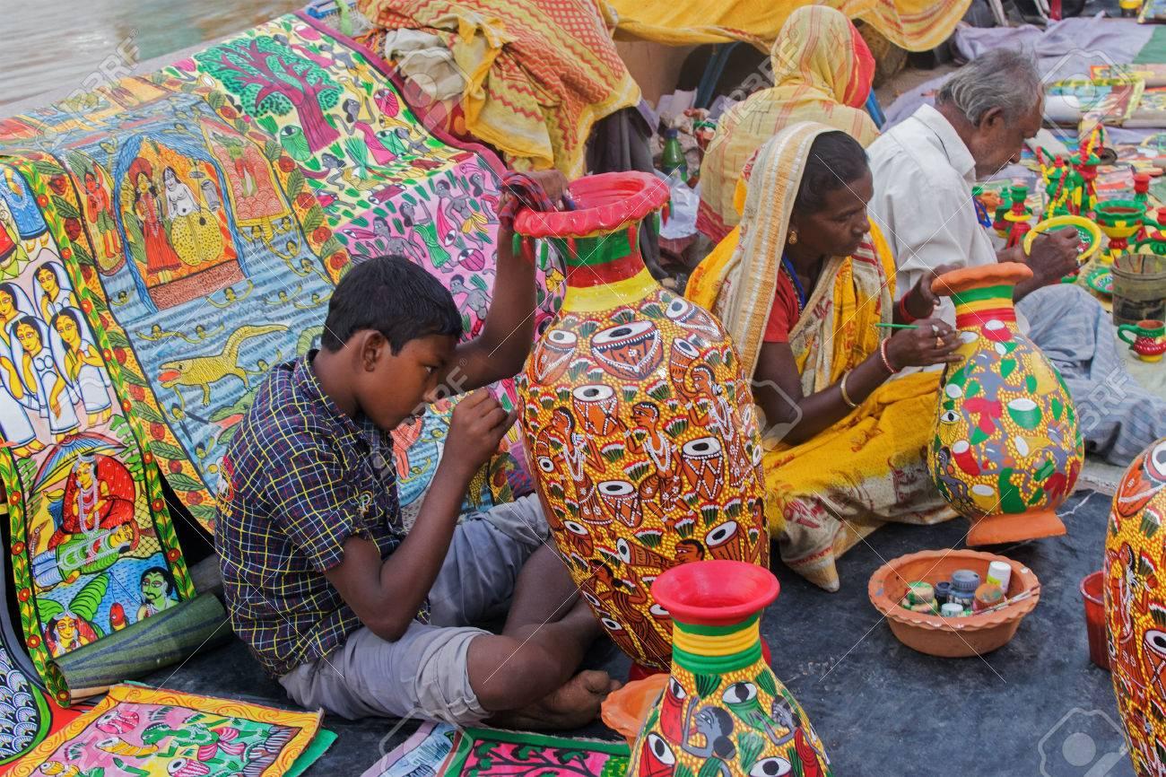 Painted Furnture Indian Handicrafts Fair At Kolkata Stock Photo