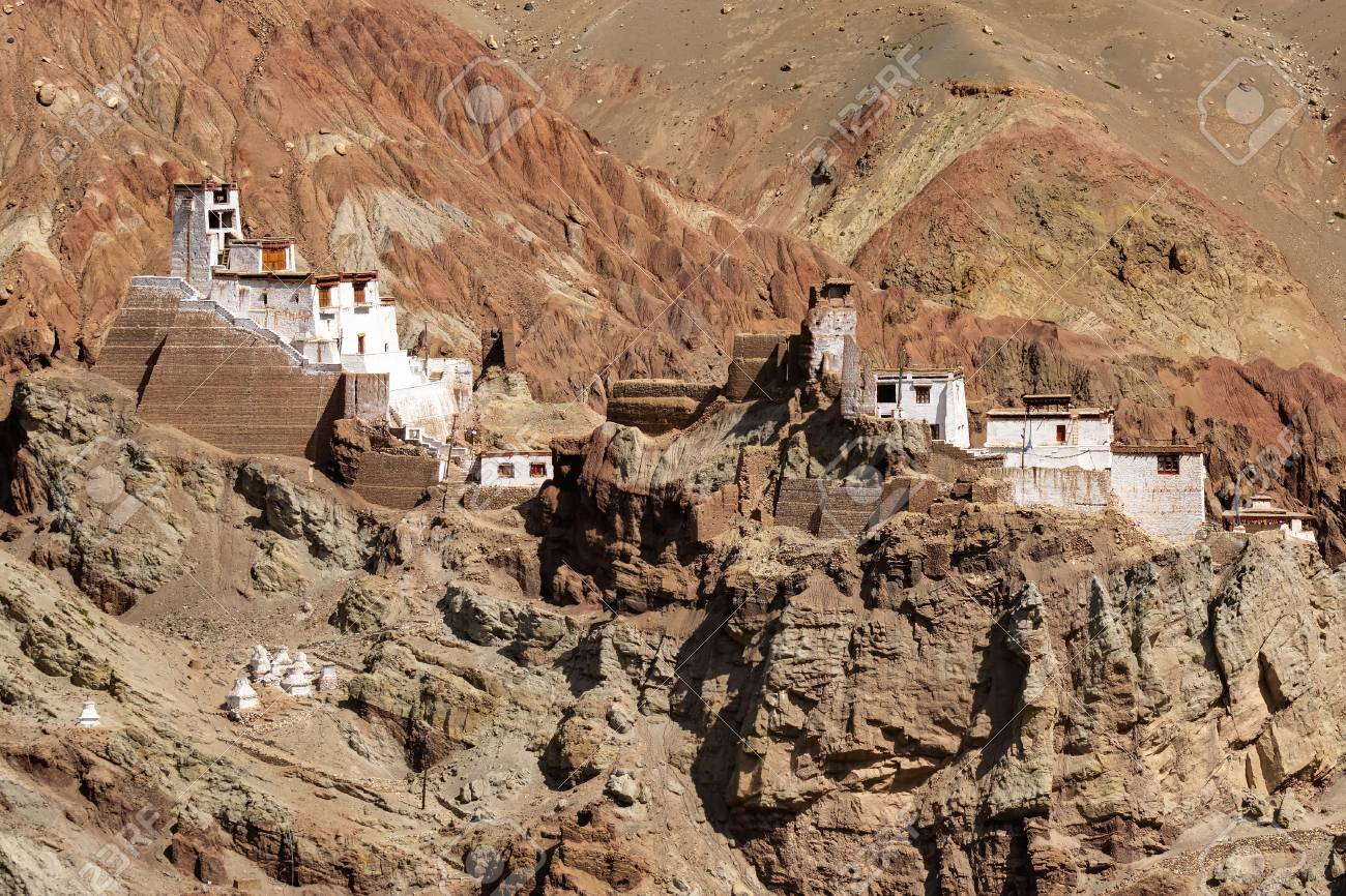Ruins and Basgo Monastery surrounded with stones and rocks , Leh, Ladakh, Jammu and Kashmir, India - 48056079