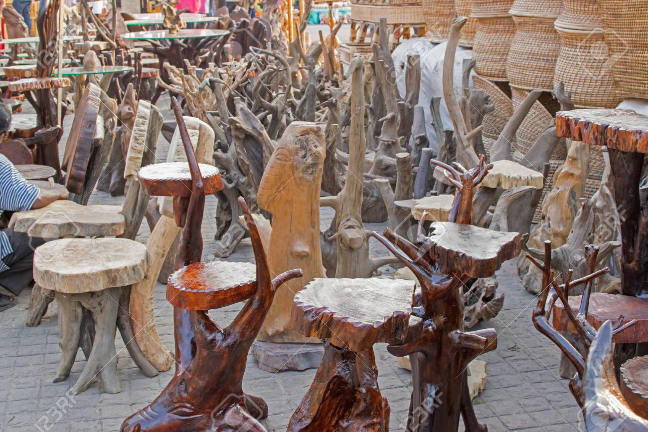 Chairs Made Of Wood Wooden Handicrafts On Display During The