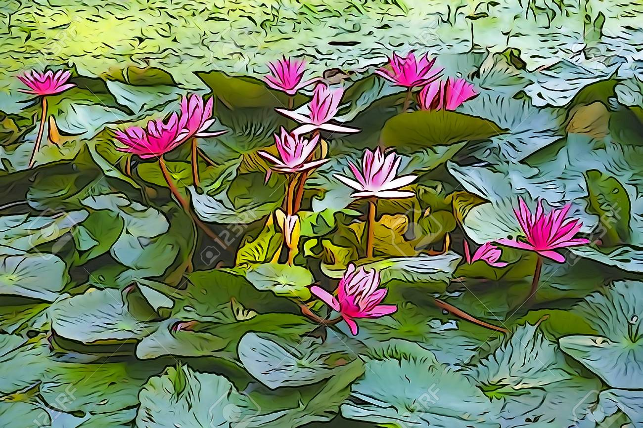 Oil paint illustration of nymphaea nouchali or nymphaea stellata illustration oil paint illustration of nymphaea nouchali or nymphaea stellata common name red water lily is a water lily of genus nymphaea the national izmirmasajfo Choice Image