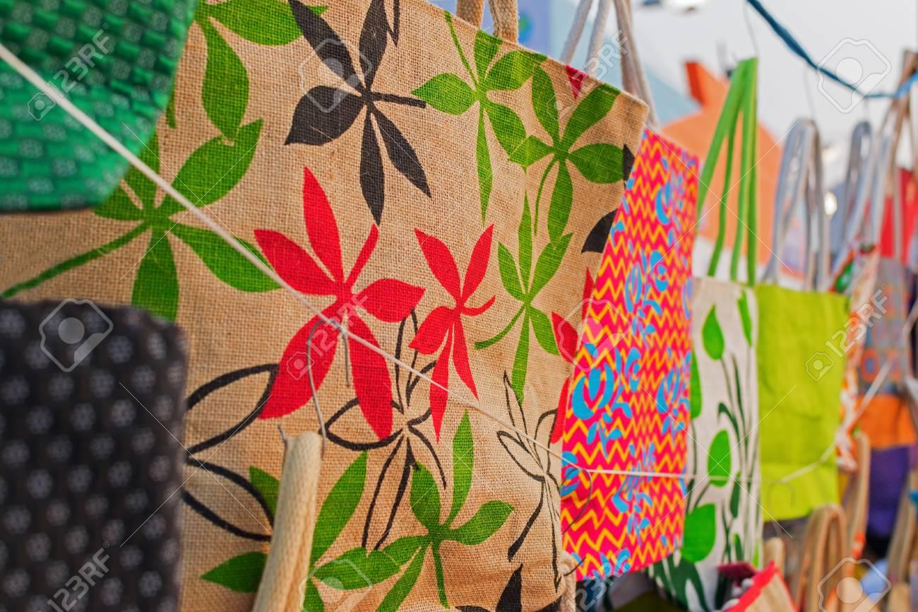 Handmade Jute Bags Handicrafts On During Handicraft Fair In Stock