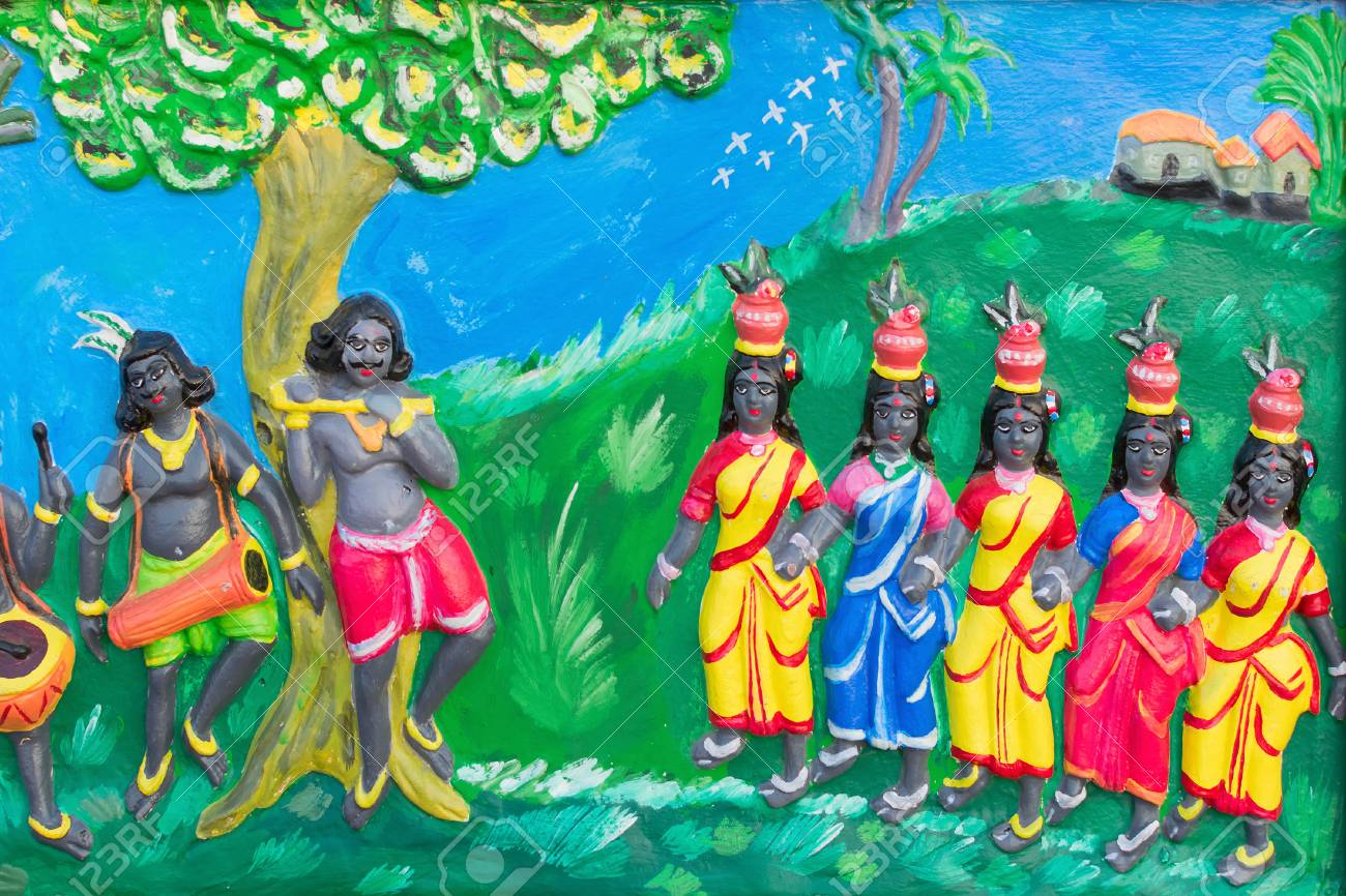 Artwork On Santhal Tribal Handicraft On Display During Handicraft