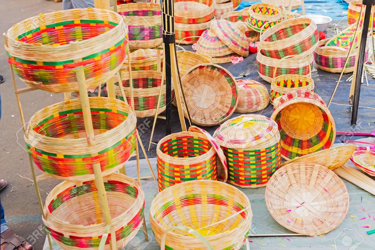 Cane Furnitures Baskets Made Of Cane Handicrafts On Display
