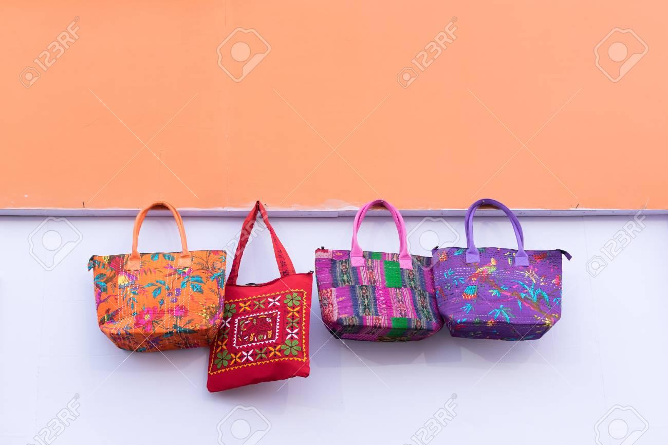 Hand Made Jute Bags Artworks Of Handicraft Handicraft Fair Stock