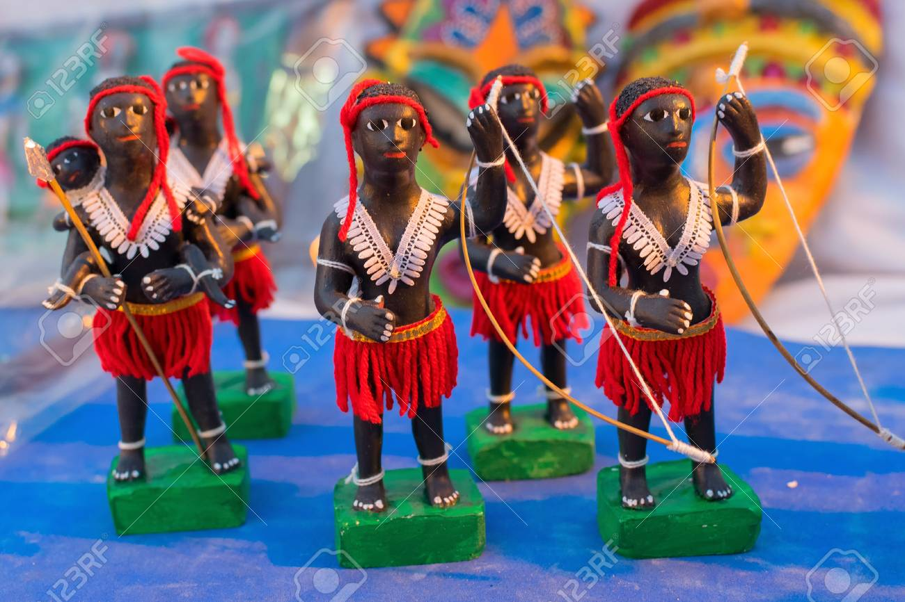 Clay Made Tribal Men Dolls With Bow And Arrow Terracotta