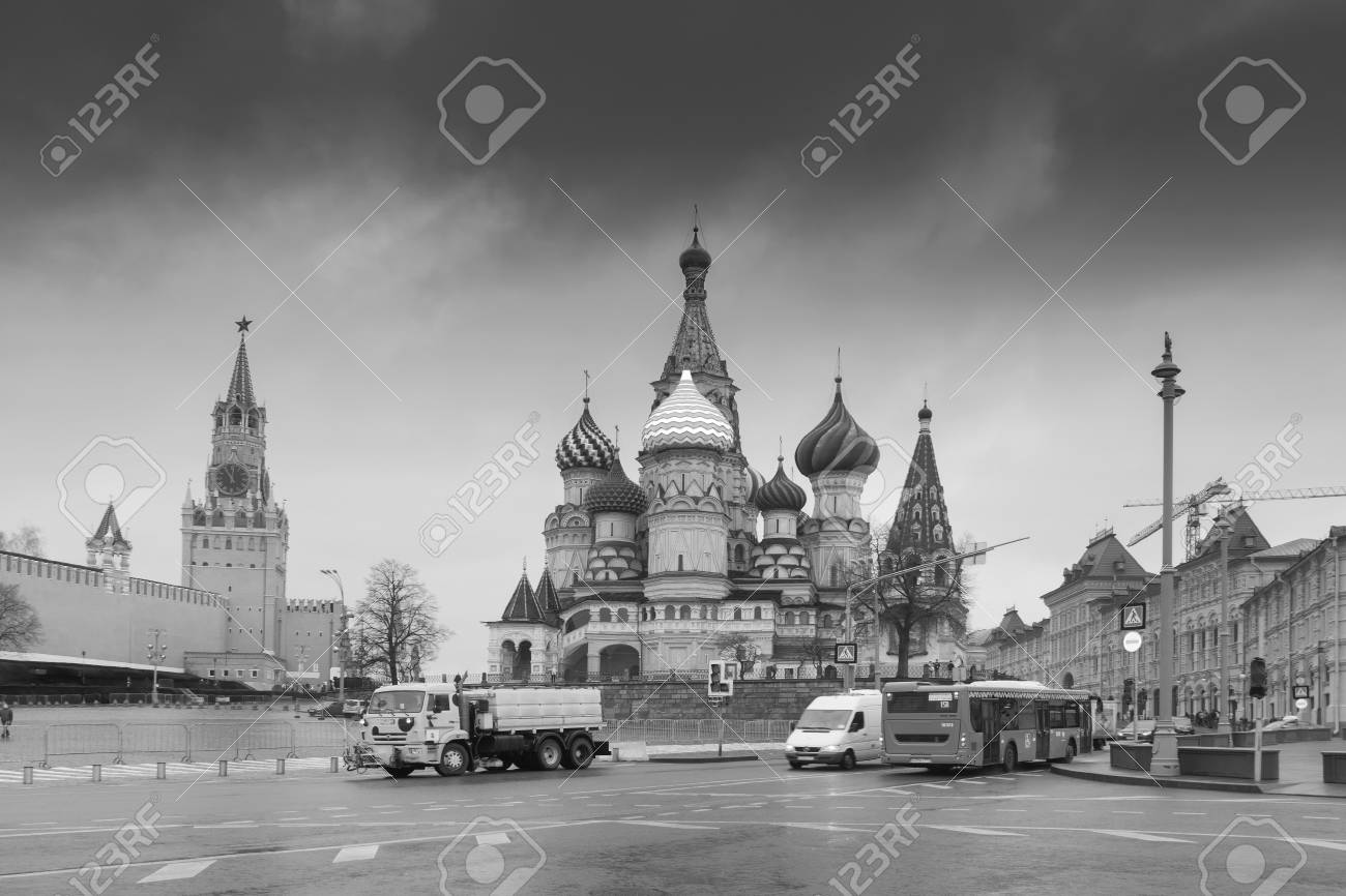 Moscow russia 26th april 2018 black and white view of moscow red square kremlin towers moscow architecture russia it is world famous tourist spot
