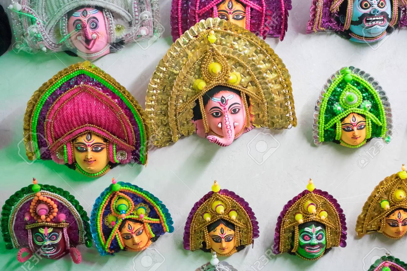 Colorful Chhau Or Chhou Mask Handicrafts On Display For Sale
