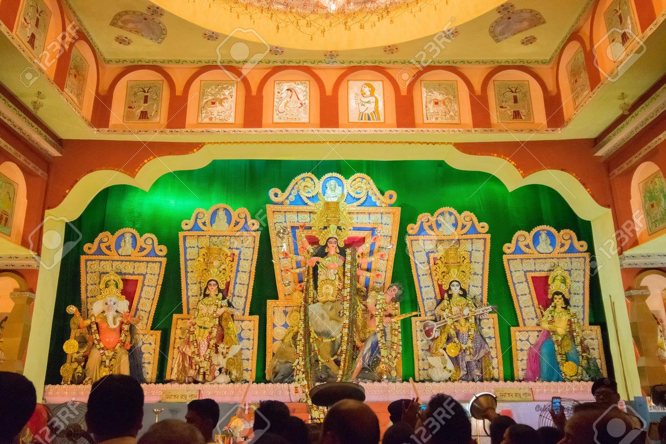 Goddess Durga Idol At Decorated Durga Puja Pandal Shot At Colored