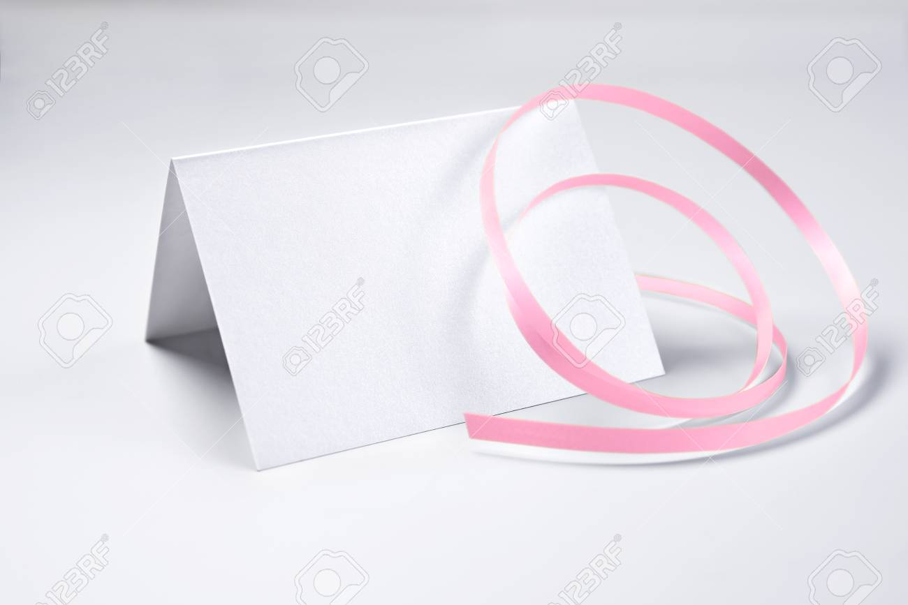 Blank Thank You Card Decorated With Rose Ribbon Stock Photo Picture