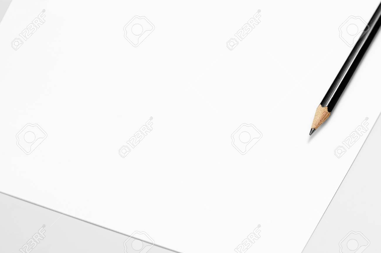Blank sheet of paper and pencil sketching paper stock photo 102314382