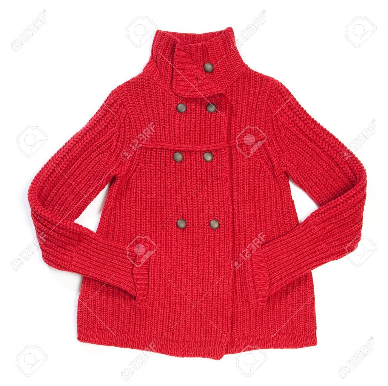 Red wool lady jacket on white Stock Photo - 6258032