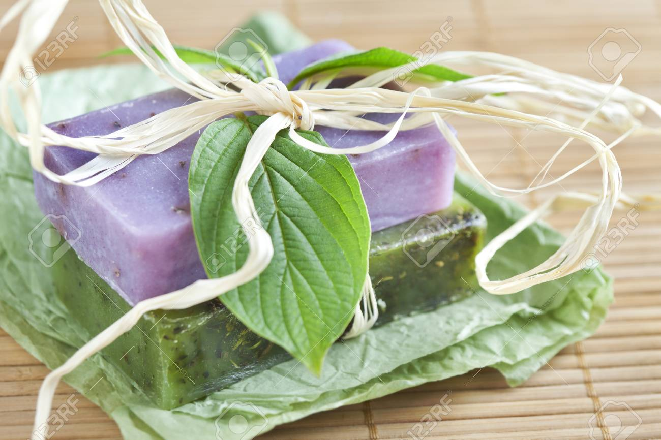 Two soap bars with natural ingredients Stock Photo - 13964827