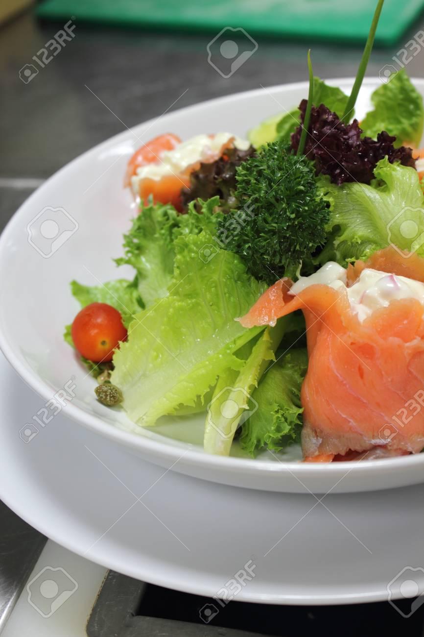 Italian Menu Salad Smoked Salmon With Vegetable Stock Photo Picture
