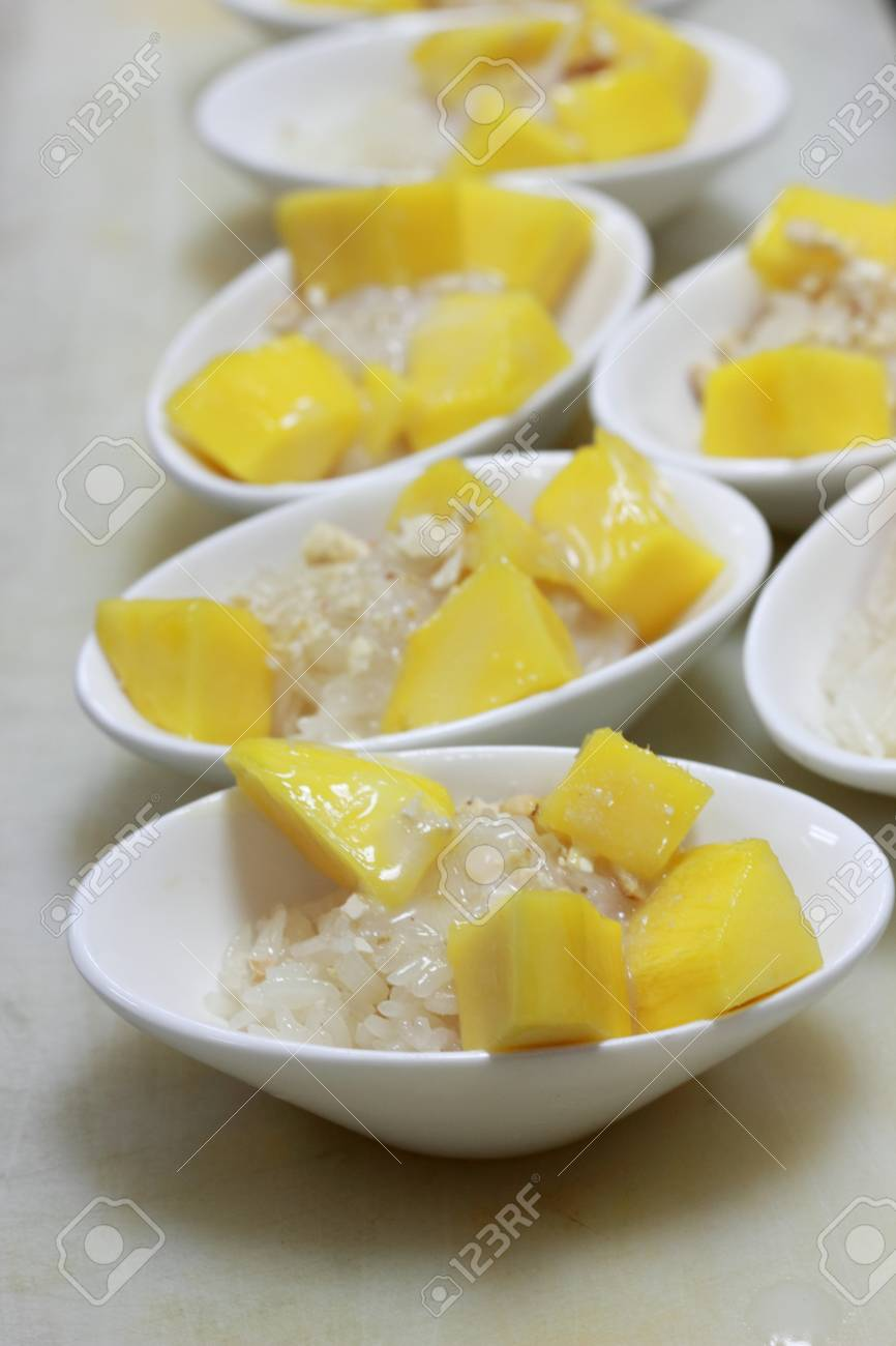 Mango sticky rice topped with coconut milk Stock Photo - 17103537