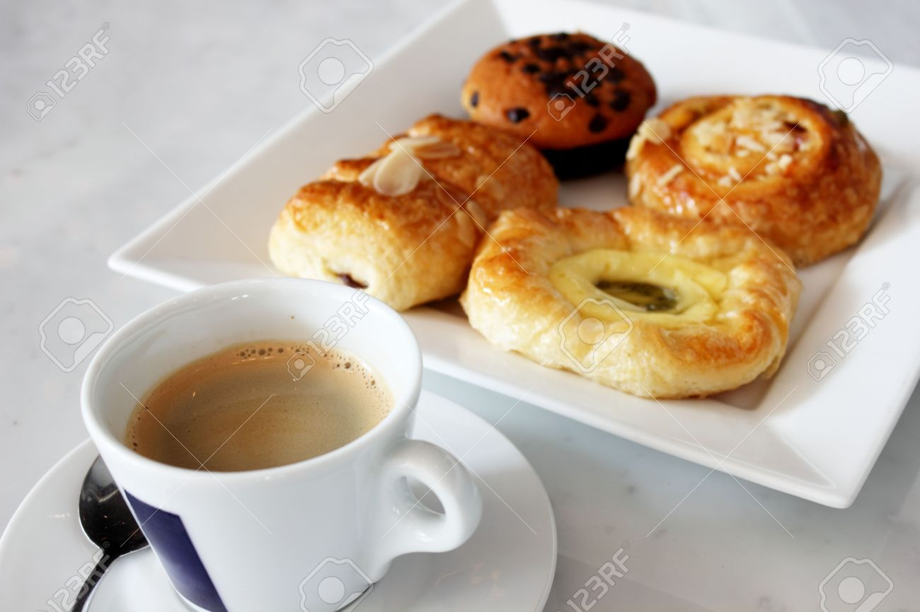 Image result for cup of coffee and danish