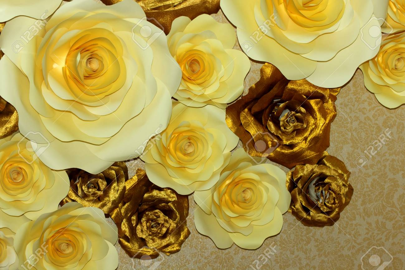 White And Gold Paper Flowers Very Beautiful Photo Stock Photo