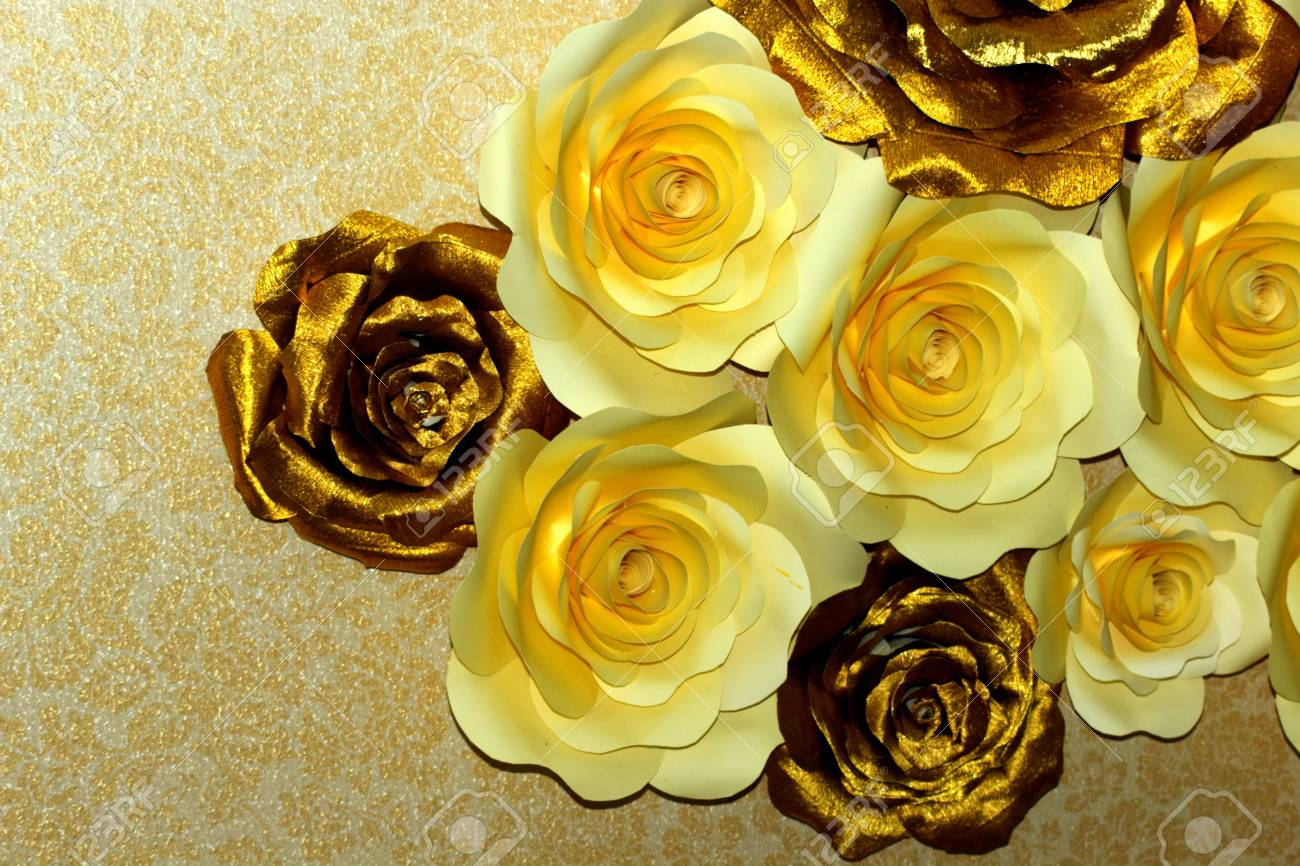 White And Gold Paper Flowers Stock Photo Picture And Royalty Free