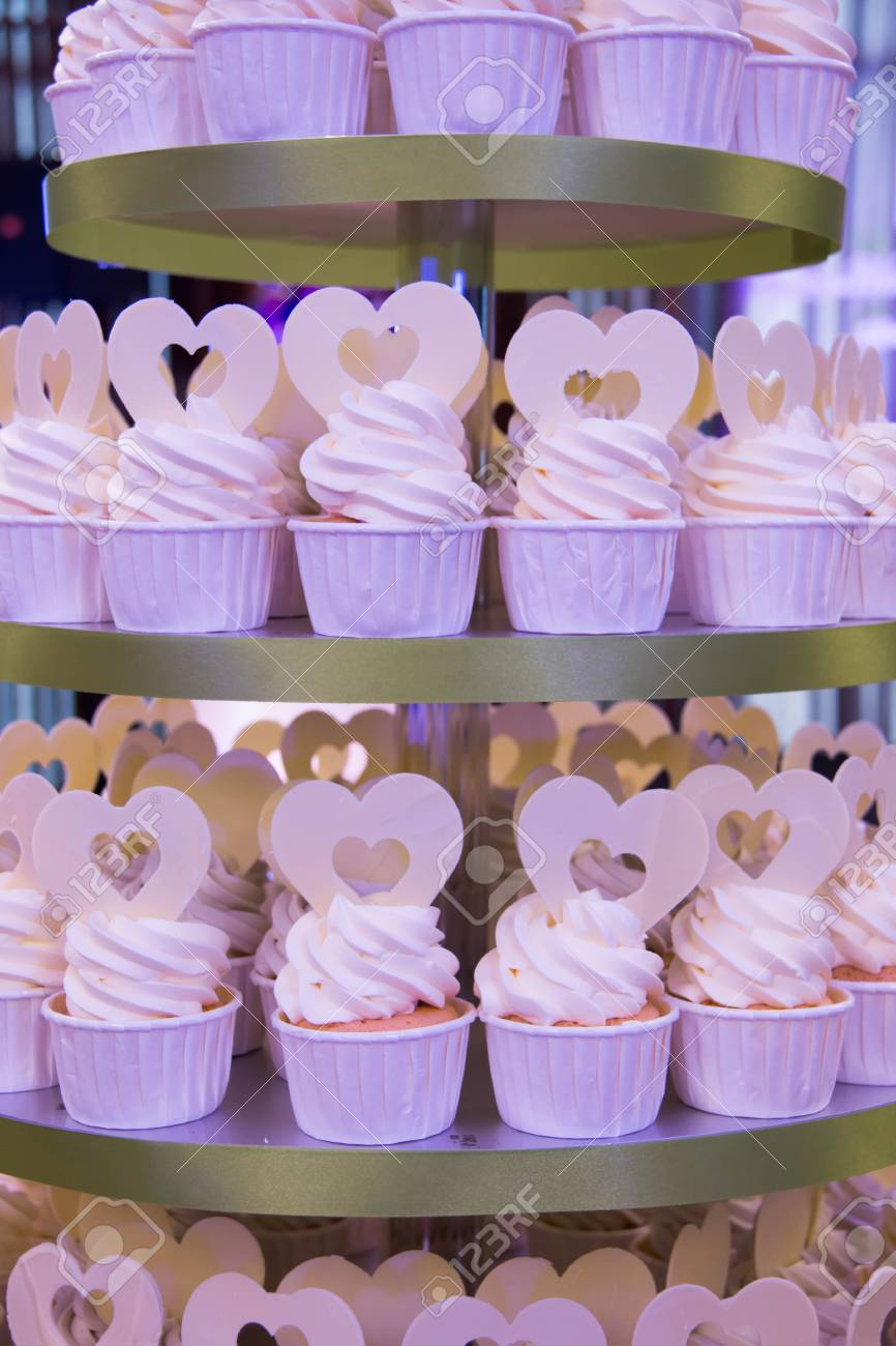 Variety Of Cupcakes From A Dessert Buffet At A Wedding Reception