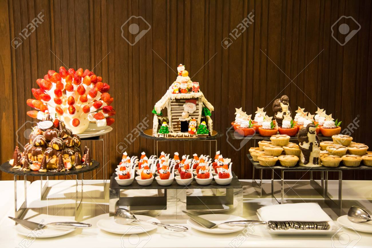 Decorated Dessert Corner At A Buffet Restaurant Stock Photo Picture