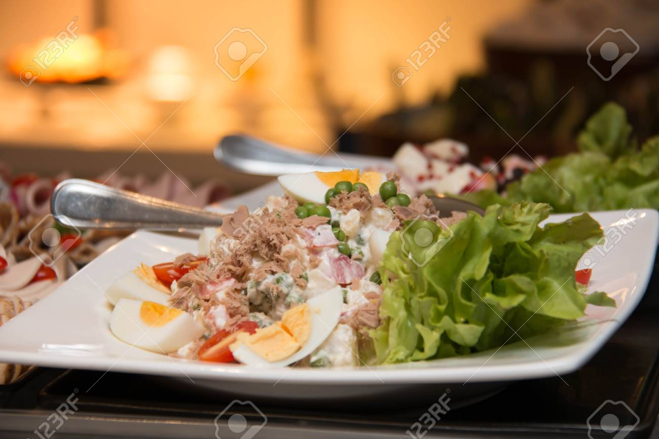 Salads On A Buffet Table With Party Decorations Fresh Mixed Stock