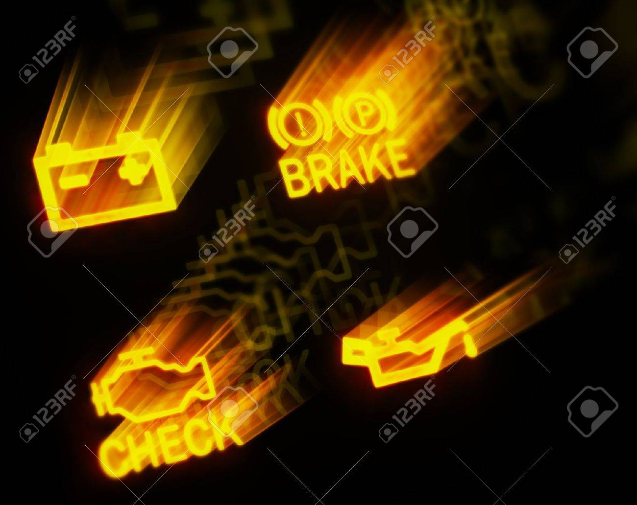 Glowing Dashboard Signs On Black Background Stock Photo Picture - Car signs on dashboard