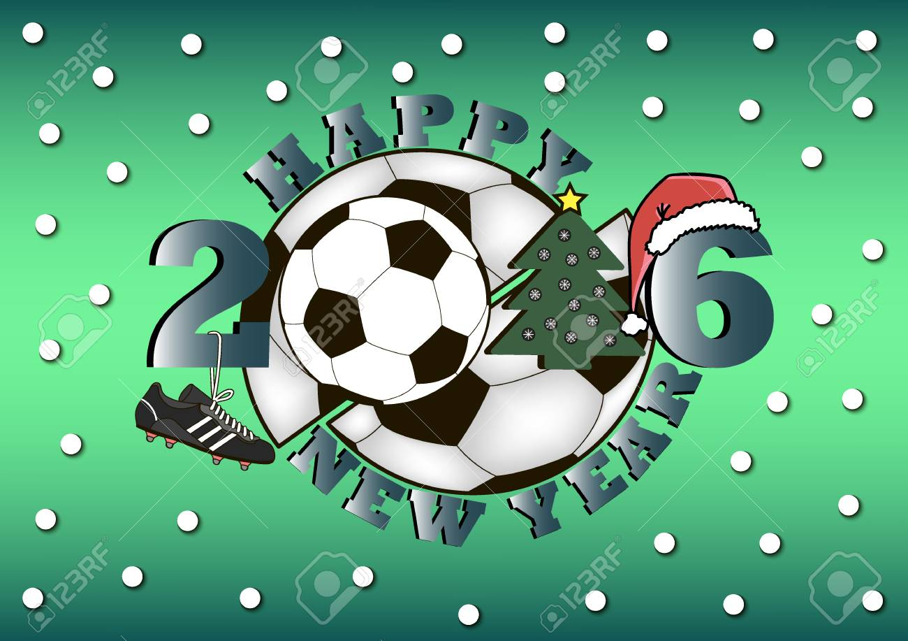 Happy New Year 2016 And Football With Christmas Tree Royalty Free