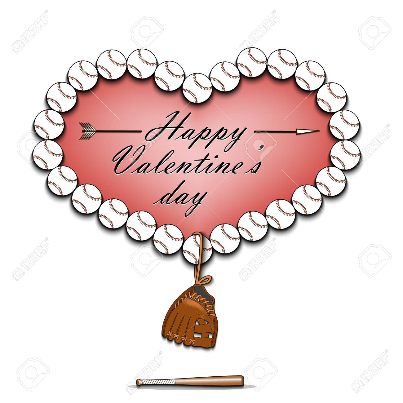 happy valentines day heart from baseball balls dangling baseball rh 123rf com Baseball Bat Clip Art Vector Baseball Bat and Ball