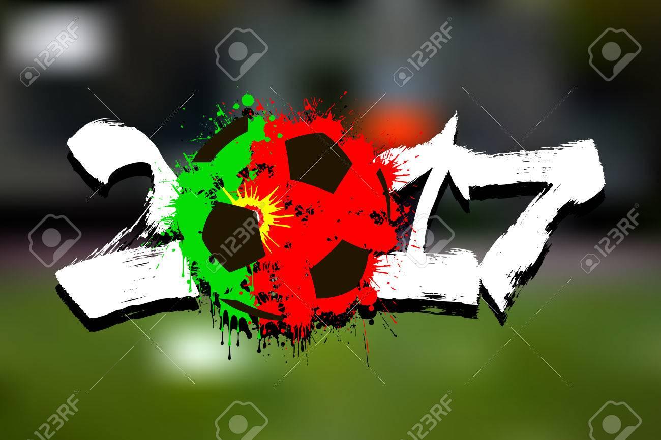 Abstrakte Fußball In Den Farben Der Portugal Flagge Gemalt. Vektor ...