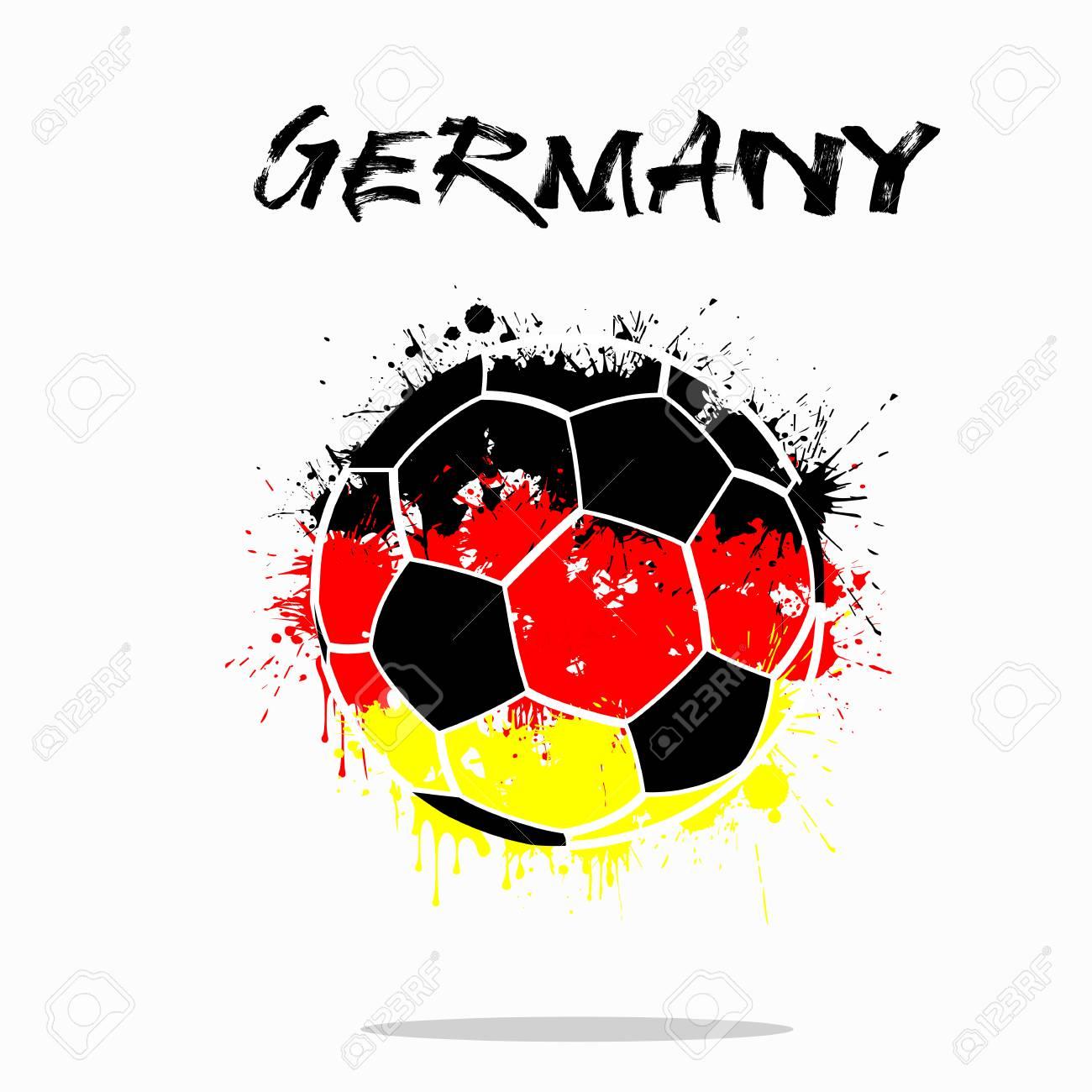 Abstrakter Fußball Gemalt In Den Farben Der Deutschland-Flagge ...