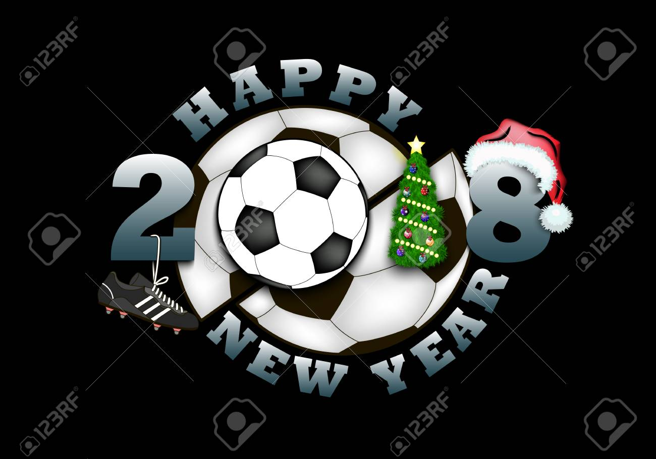 Happy New Year 2018 And Soccer Ball With Christmas Tree Hat