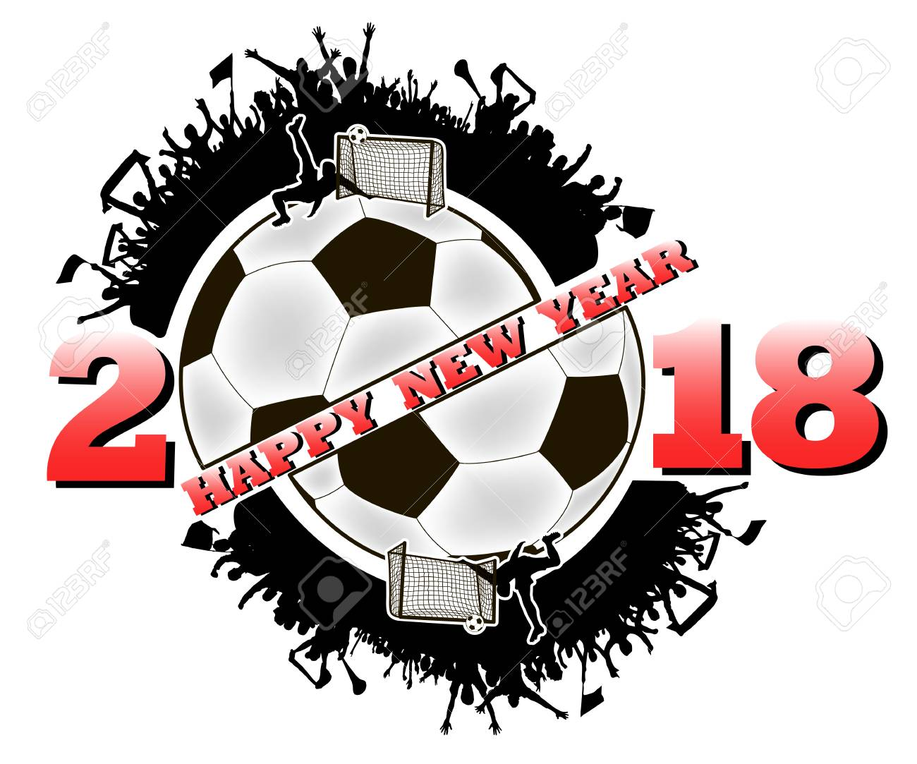 Happy New Year 2018 And Soccer Ball With Football Fans Vector