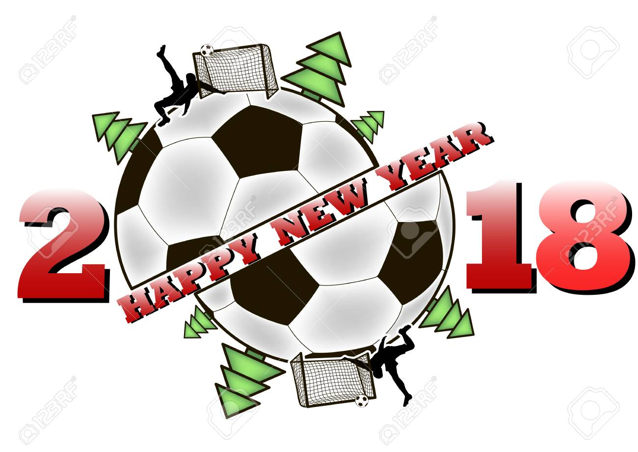 Happy New Year 2018 And Soccer Ball With Christmas Trees Football