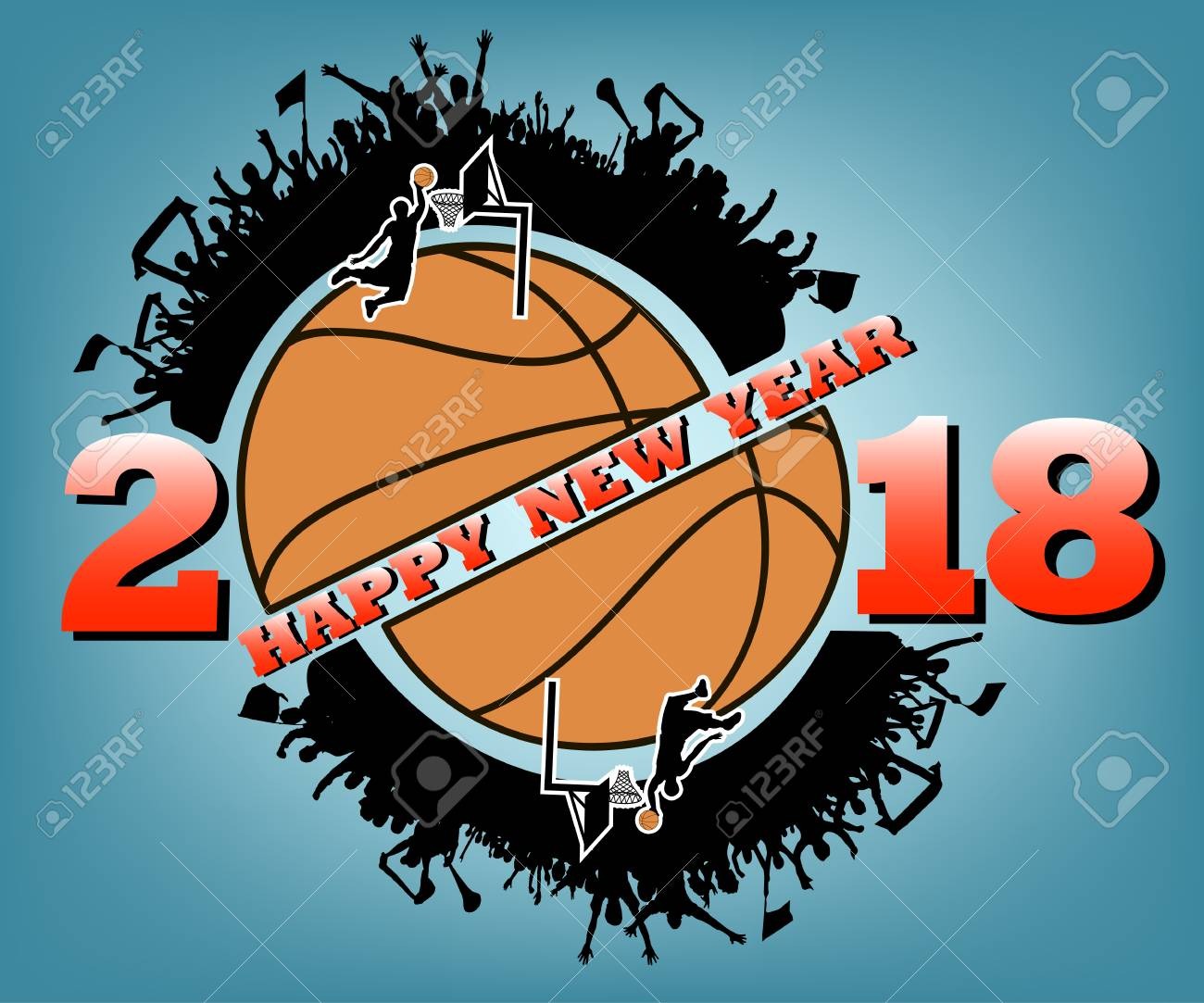 Happy New Year 2017 And Basketball With Football Fans Vector