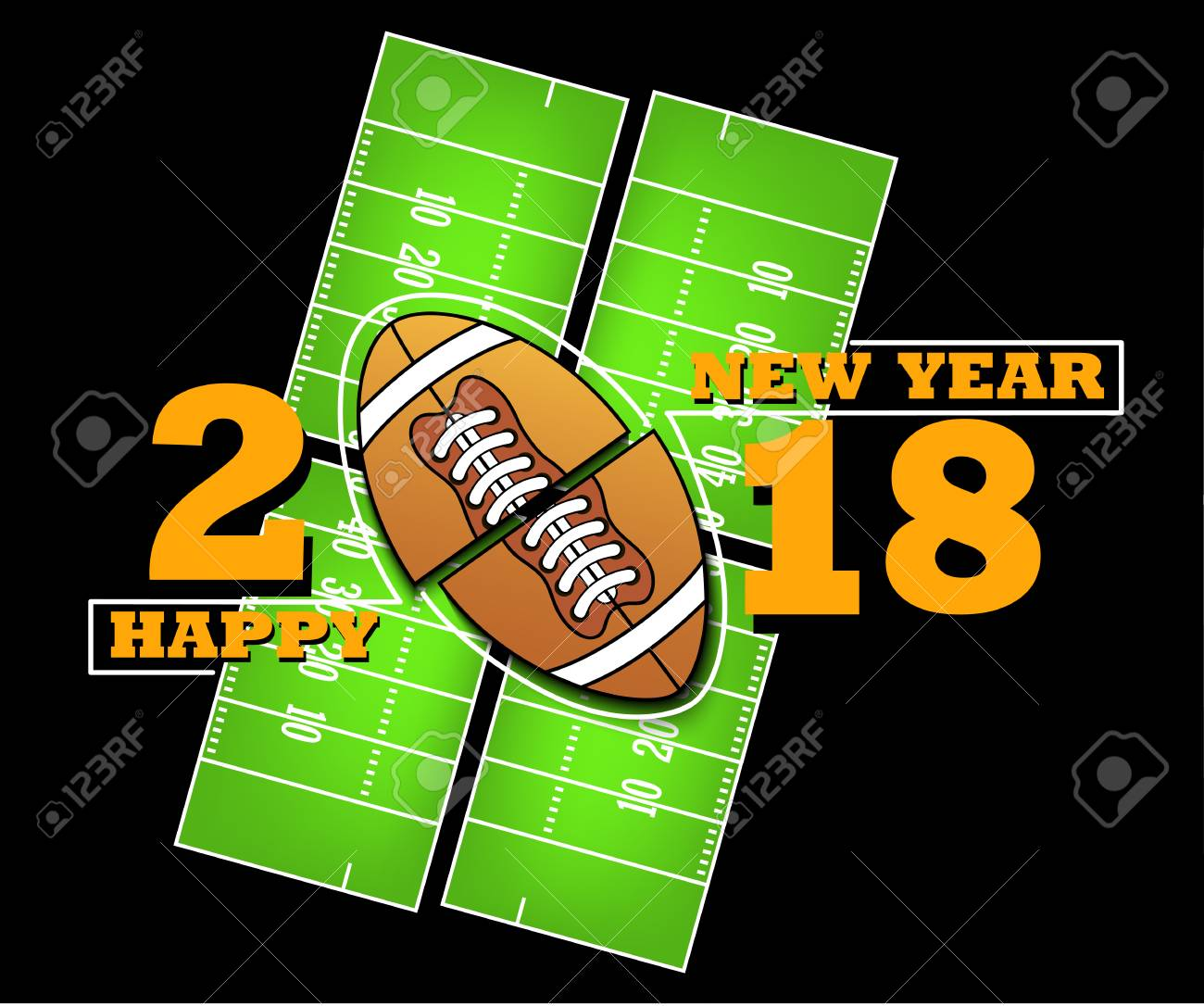 Happy New Year 2018 And Football Against The Background Of American