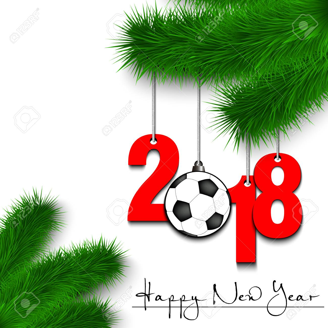 Happy New Year And Numbers 2018 And Soccer Ball As A Christmas ...