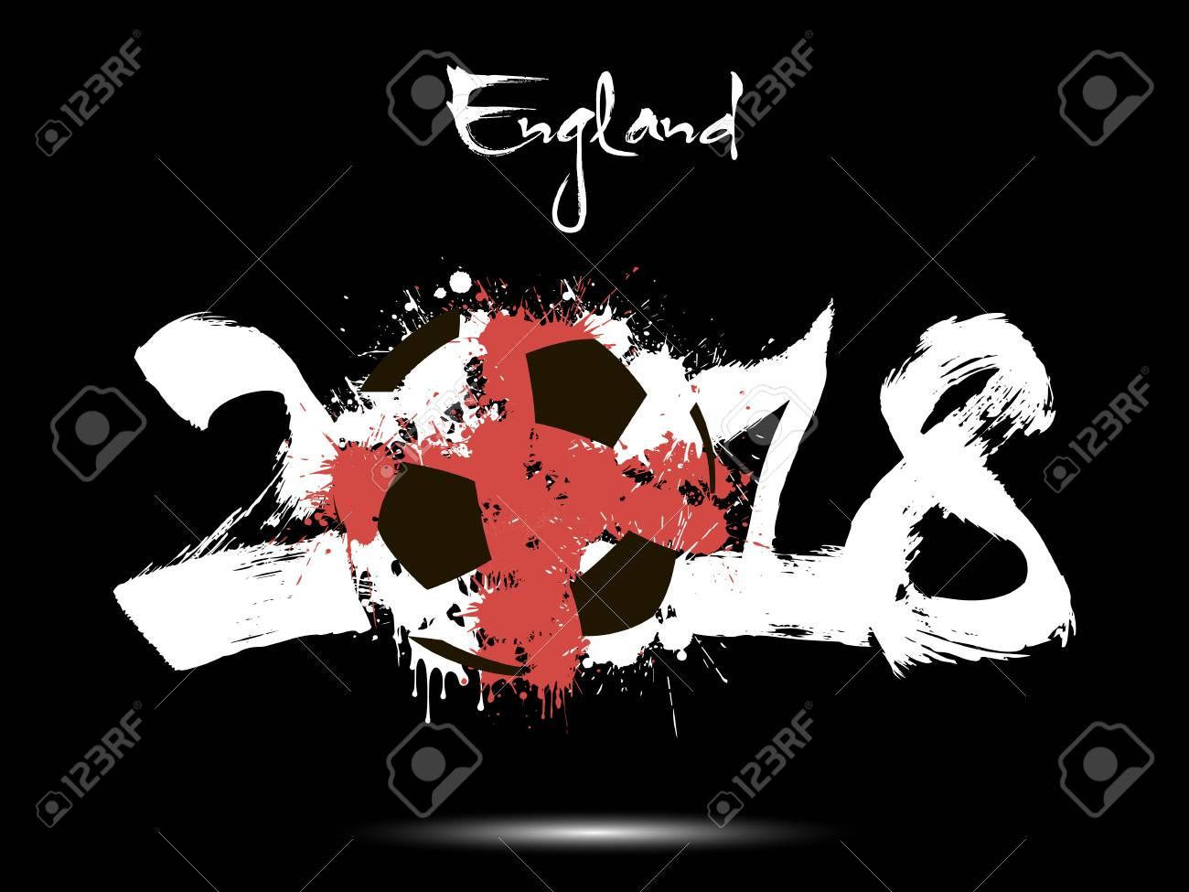 Foto de archivo - Número abstracto 2018 y balón de fútbol pintado en los  colores de la bandera de Inglaterra. Ilustración vectorial 812876a4a3206