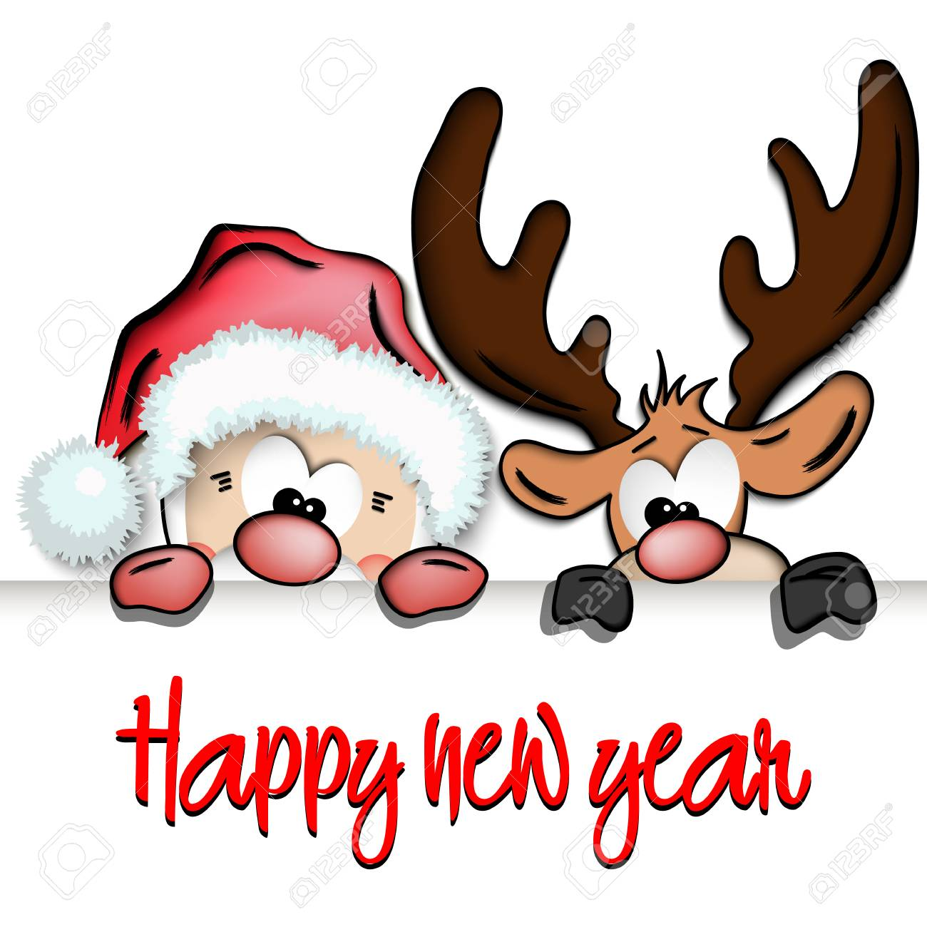 Happy New Year And Cartoon Funny Santa Claus And Reindeer. Royalty ...