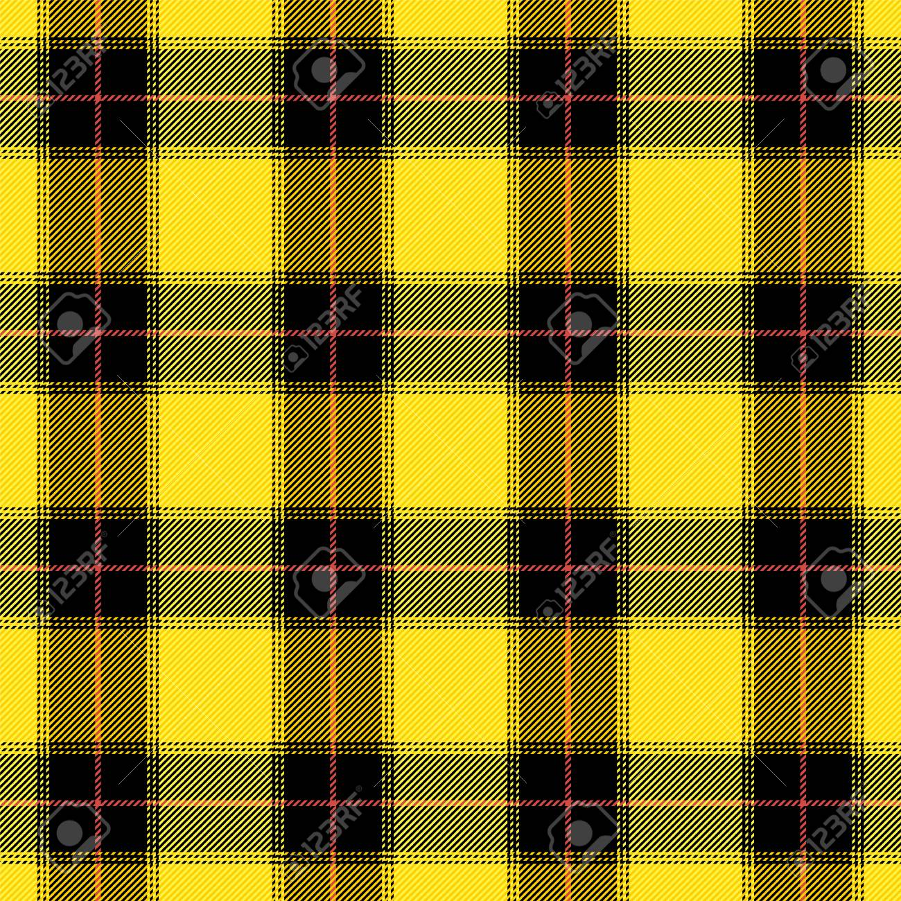 Maclachlan tartan plaid  Scottish pattern in yellow and black