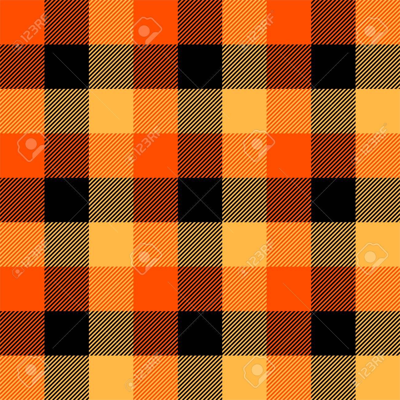 cf332bfa91 Halloween Tartan plaid. Scottish pattern in orange, black, yellow and gray  cage.