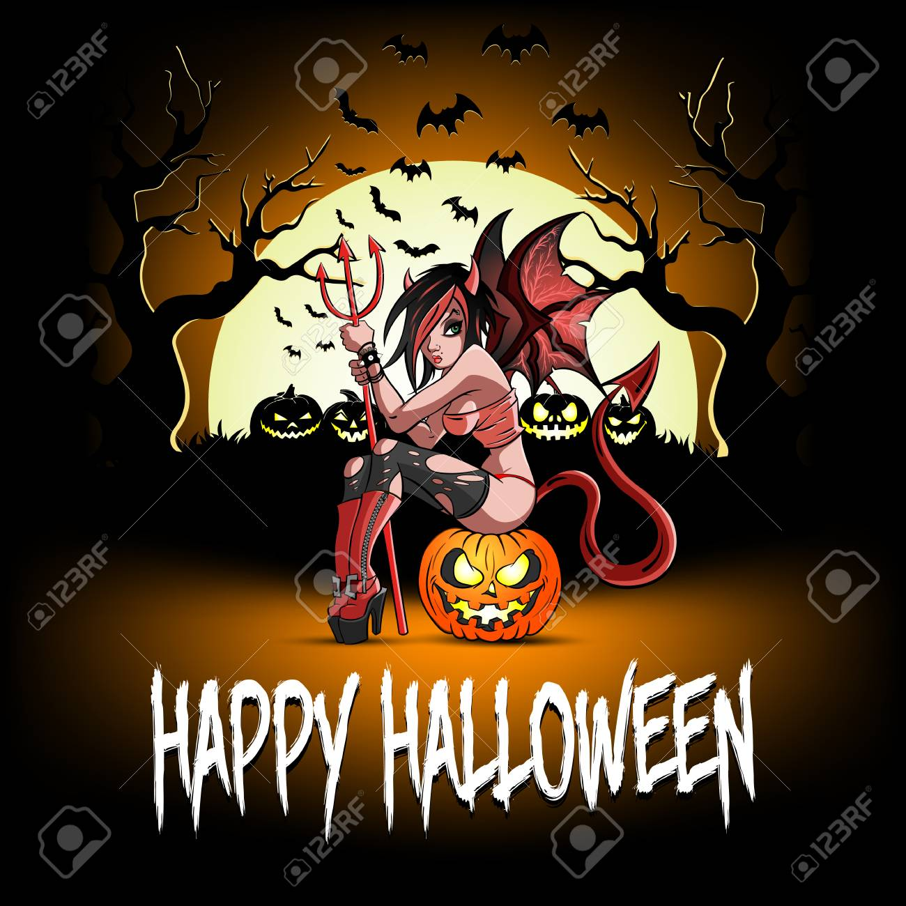 Happy Halloween. Sexy devil girl sitting on a halloween pumpkin on the background of an ominous forest. Design pattern for banner, poster, greeting card, flyer, party invitation. Vector illustration - 110973713
