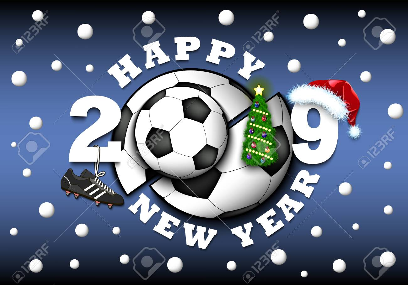 Happy New Year 2019 And Soccer Ball With Christmas Tree Hat