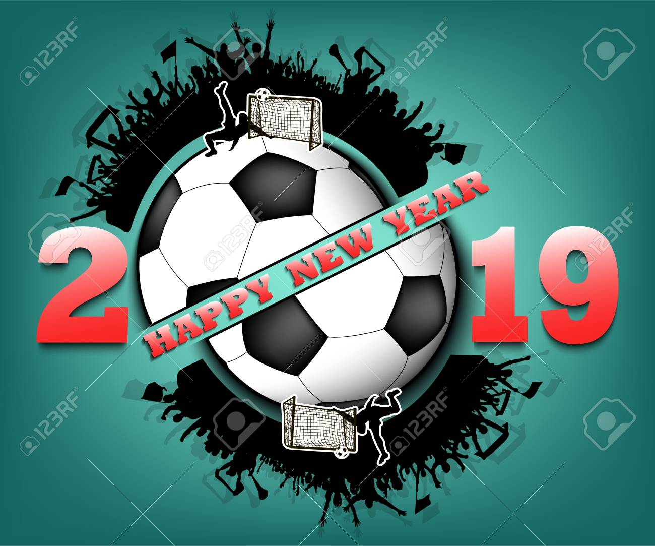 Happy New Year 2019 And Soccer Ball With Football Fans Creative