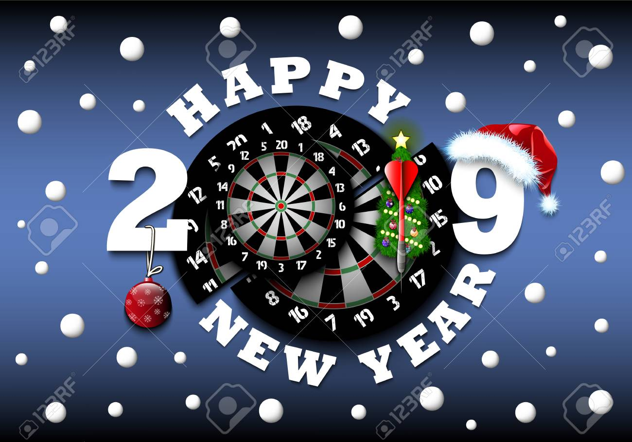 Christmas Board Games 2019.Happy New Year 2019 And Dartboard With Christmas Trees On An