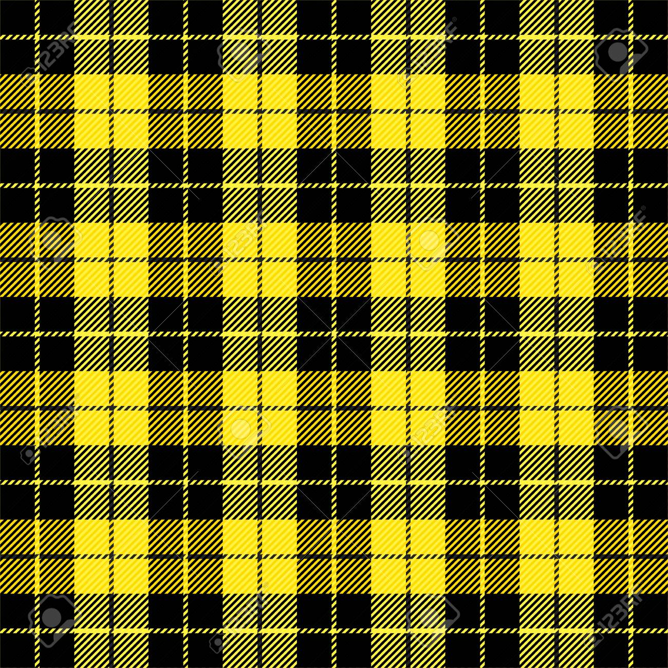 Wallace tartan plaid  Scottish pattern in black and yellow cage