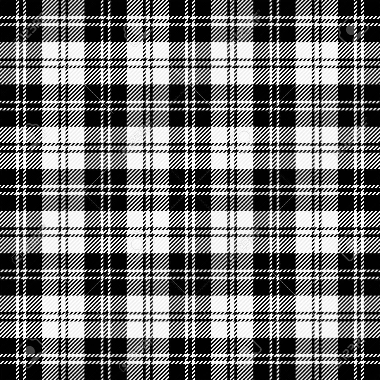 Erskine Black White SCOTTISH CHECK Tartan Fabric Material