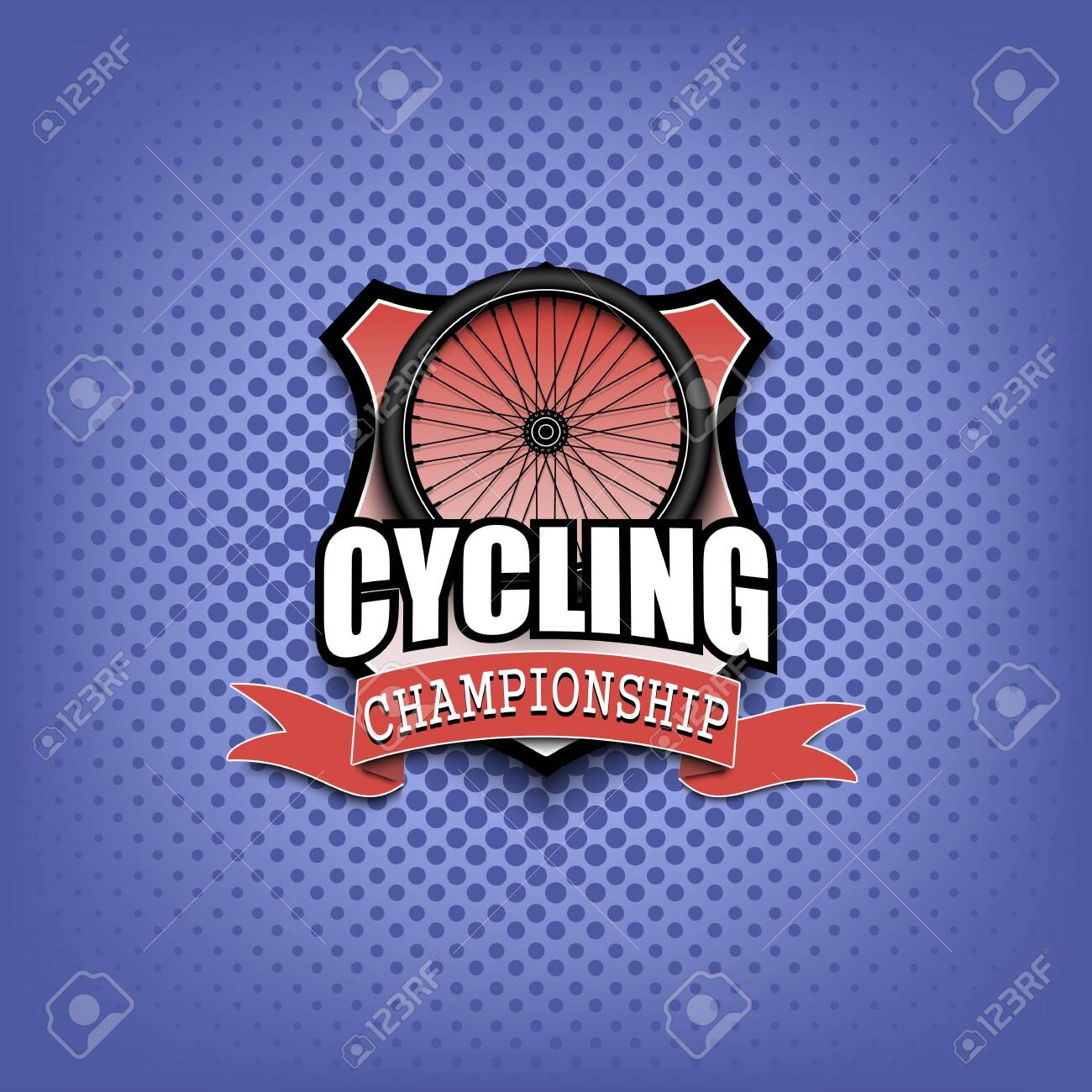 Cycling logo template design. Black and White. Vintage Style. Isolated on white background. Vector illustration - 120892001
