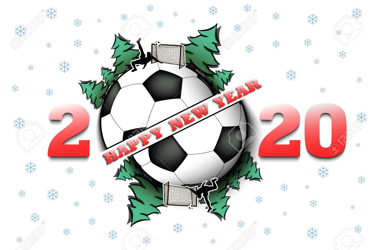 Christmas 2020 Football Happy New Year 2020 And Soccer Ball With Christmas Trees On An