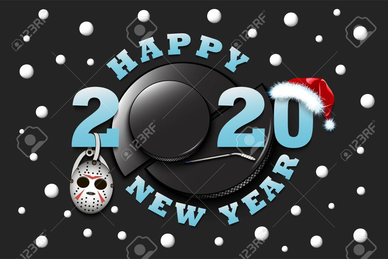 2020 Christmas Hockey Happy New Year 2020 And Hockey Puck With Mask, Hockey Stick And