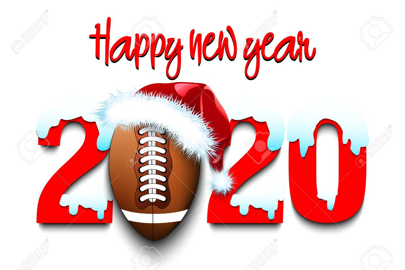 Christmas 2020 Football Snowy New Year Numbers 2020 And Football Ball In A Christmas