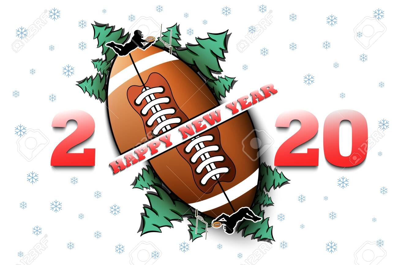 Christmas 2020 Football Happy New Year 2020 And Football Ball With Christmas Trees On